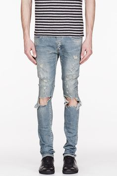 cc773971bea SAINT LAURENT Blude faded   destroyed jeans