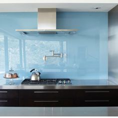 Back painted glass backsplash