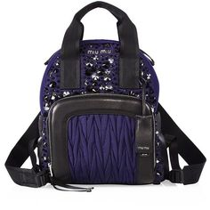 Miu Miu Embellished Leather Trim Backpack ($2,490) ❤ liked on Polyvore featuring bags, backpacks, apparel & accessories, pocket backpack, leather daypack, leather knapsack, real leather backpack and mini rucksack
