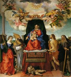 1521—Bergamo, Italy: Lorenzo Lotto's painting, Madonna and Saints, in Bergamo's Santo Spirito, includes a depiction of an angel playing what is probably a trombone (see detail and full image below; public domain) (Berenson, 51, pl. 119).