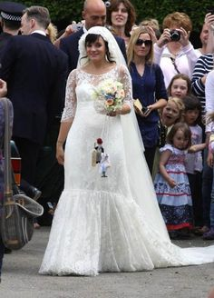 Celebrity wedding dresses: Lily Allen wore a loose-fitting lace Chanel dress to flatter her baby bump when she married Sam Cooper.