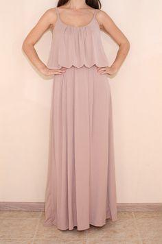 Blush Pink Dress Long Maxi dress Spaghetti strap by KSclothing, $43.00
