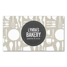 Kitchen Collage on Faux Linen with Rustic Gray Logo - Customizable Business Card Template for Bakery, Chef, Catering, Homemade Goods, Baked Goods, Food Truck, etc.