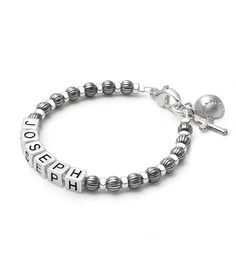 Stylish boy's oxidized silver name bracelet. #tinyblessings #boysjewelry #boysgift