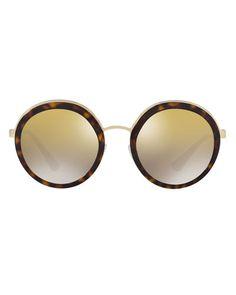 e1c3ffdd0200ff Trimmed Mirrored Round Sunglasses Sun Shades, Round Sunglasses, Prada