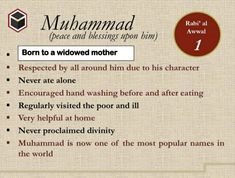 Islam: 30 Days & Nights with the Prophet Muhammad A Glimpse into his life, character, social and moral conduct Islamic Inspirational Quotes, Islamic Quotes, Prophets In Islam, Rabi Ul Awal, Muslim Pictures, Prophet Muhammad Quotes, Islamic Information, Peace Be Upon Him, Islamic Images
