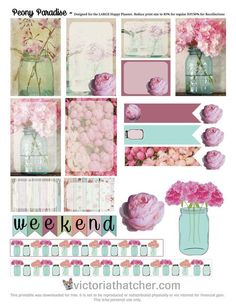 Free Printable Peony Paradise Planner Stickers from Victoria Thatcher To Do Planner, Free Planner, Planner Pages, Happy Planner, Planner Ideas, 2018 Planner, Project Life, Printable Planner Stickers, Free Printables