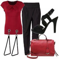 """Bon ton ed elegante con un tocco di originalità dato dal taglio del pantalone """"alla Jasmine"""" e dal colore rosso. Adatto per una serata ma anche per il lavoro, se non vi viene richiesto un abbigliamento troppo classico o formale."""