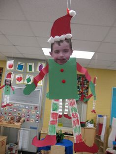 Elf yourself: I am SOOOO making these with my kids this November to hang in the room all of December and send home for Christmas! This freakin' rocks! Hahahaha!   Crafts Information