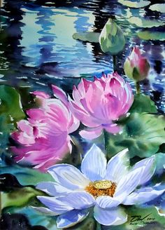 New flowers painting canvases art ideas 58 Ideas Acrylic Painting Canvas, Acrylic Art, Canvas Art, Watercolor Flowers, Watercolor Paintings, Art Paintings, Painting Flowers, Lily Painting, Lotus Painting