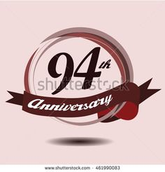 94th anniversary logo with circle composition soft chocolate color and ribbon