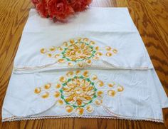 Vintage Pillowcases Bedding Yellow and White Rose by vintagelady7
