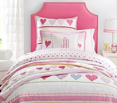 So working on DL's new bedroom. And I'm kinda liking this whole look... -Sylvia Upholstered Bed & Headboard. #pbkids