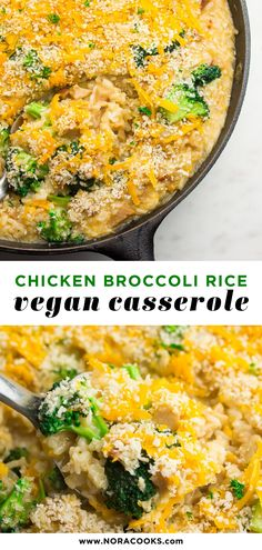 """""""Chicken"""" Broccoli Rice Vegan Casserole is ultra cheesy, creamy and comforting. Ready in about 30 minutes and made in 1 pan! Cheesy Broccoli Rice Casserole, Vegan Casserole, Casserole Recipes, Cheesy Rice, Hamburger Casserole, Chicken Casserole, Vegan Dinner Recipes, Whole Food Recipes, Vegetarian Recipes"""