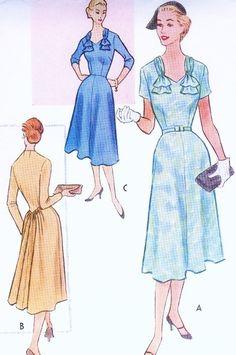 1950s Lovely Dress Pattern McCALLS 8801 Flattering Neckline Stunning Gathered Back Daytime or Dinner Dress Bust 35 Vintage Sewing Pattern FACTORY FOLDED