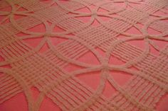 vintage pink chenille bedspread double wedding ring