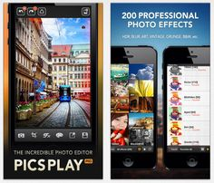 PicsPlay Pro is a popular photo editing app for your iOS device. It comes with over 200 filters and 10 themes.