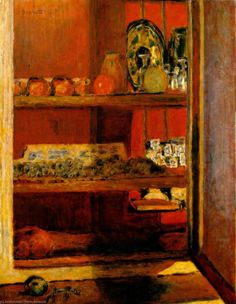 The Red Cupboard - Le placard rouge, 1939 Pierre Bonnard Large image: HERE Pierre Bonnard, Georges Seurat, Edouard Vuillard, Paul Gauguin, Felix Vallotton, Checkered Tablecloth, Maurice Denis, Francis Picabia, Henri Matisse