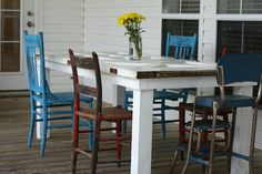 old door made into an outdoor table for the porch