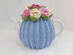 TEA COSY  LARGE  Hand knitd  Wool  Rose Flower  Pale Blue