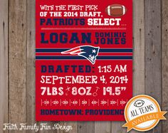 NFL New England Patriots Birth by FaithFamilyFunDesign on Etsy