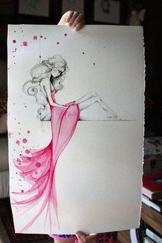 Pink Dress Watercolor