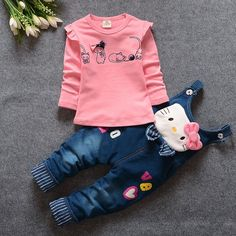 BibiCola 2017 autumn Baby Girls Clothing Set Children Denim overalls jeans pants + Blouse Full Sleeve Twinset Kids Clothes Set - Kid Shop Global - Kids & Baby Shop Online - baby & kids clothing, toys for baby & kid Jeans Pant Shirt, Denim Blouse, Denim Overalls, Denim Outfit, Kids Outfits Girls, Girl Outfits, Overall Kind, Baby Shop Online, Baby Supplies
