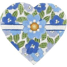 Floral with Spotted Leaves Heart Needlepoint Kits, Needlepoint Canvases, Heart Canvas, Cross Stitch Heart, Cross Patterns, Mesh, Kids Rugs, Hand Painted, Embroidery