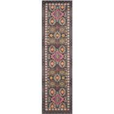 "Safavieh Monaco Collection MNC240B Brown and Multi Runner, 2 feet 2 inches by 8 feet (2'2"" x 8')"