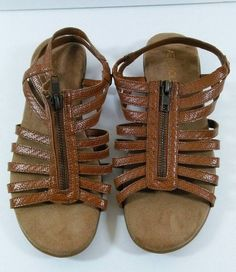 AEROSOLES Brown Flat Sandal w Zipper Soft Sole Ladies Size 7.5 GUC #Aerosoles #AnkleStrap #Casual