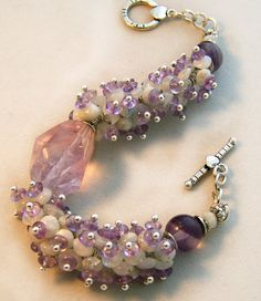Amethyst and Moonstone Cluster Bracelet by jwstyle on Etsy, $48.00