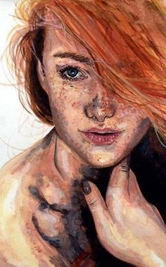 Red head with freckles gorgeous art