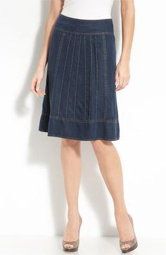 Nic + Zoe Pintuck Pleat Denim Skirt (Petite) available at Nordstrom Skirt Pants, Denim Skirt, Dress Skirt, Jean Skirt, Denim Fashion, Skirt Fashion, Denim Crafts, Nic And Zoe, Cute Skirts