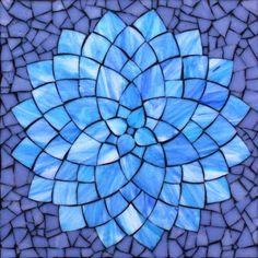"Blue Dahlia, stained glass mosaic, 11"" x 11"" (12"" x12"" framed), 2014 by Kasia Polkowska Visit Kasia Mosaics on Facebook: https://www.facebook.com/KasiaMosaics"