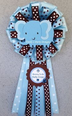 Baby Blue Baby Elephant Mommy-To-Be Corsage, Baby Shower Corsage, Mommy-To-Be… Baby Shower Cakes, Distintivos Baby Shower, Shower Party, Baby Shower Parties, Baby Shower Themes, Baby Shower Decorations, Baby Shower Gifts, Shower Ideas, Elephant Party