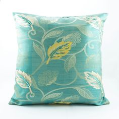 Aqua Blue Decorative throw pillow cover 18x18, Silk pillow, Floral yellow white accent pillow