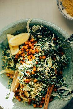 "kale + brussels sprout caesar slaw w/ pine nut ""parm"" #vegan // via thefirstmess.com"