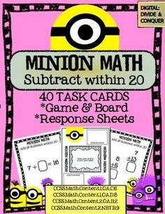 Minion Math:  Subtraction within 20!  40 Task Cards, CCSS Aligned