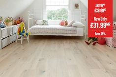 Home Choice Engineered European Rustic Oak Flooring x Alabaster Lacquered Engineered Wood Floors, Oak Flooring, Stock Clearance, Hardwood, Easy Diy, Toddler Bed, Rustic, Living Room, Furniture