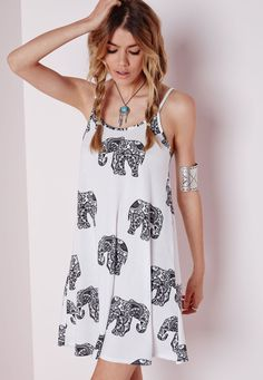 Christmas Dresses Missguided Strappy Swing Dress Elephant Print White Dresses Swing Dresses