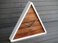 Modern Clock – Triangle Wood Wall Clock Ideal for Your Geometric Decor Into The Woods, Wall Clock Design, Clock Wall, Triangle Wall, Modern Clock, Side Board, Geometric Decor, Diy Clock, Wood Clocks