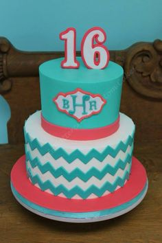 Chevron Cake Ideas Vintage Birthday Cakes Birthday Cakes And - Monogram birthday cakes