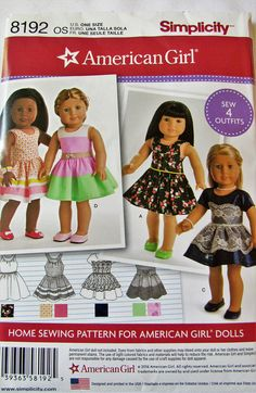 American Girl 8192 Simplicity Pattern 18 Doll Clothes