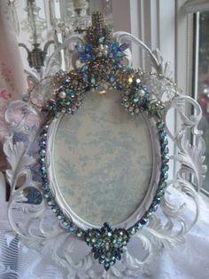 Aurora Borealis & Blue Vintage Jeweled Frame