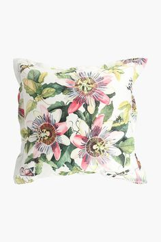 Printed Granadilla Flower Scatter Cushion, 55x55cm - Shop New In - Hom Scatter Cushions, Throw Pillows, Home Decor Shops, Tapestry, Printed, Flowers, Fabric, Beautiful, Color