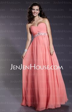 Prom Dresses - $130.99 - Empire Sweetheart Floor-Length Chiffon  Charmeuse Prom Dresses With Ruffle  Beading (018005353) http://jenjenhouse.com/Empire-Sweetheart-Floor-length-Chiffon--Charmeuse-Prom-Dresses-With-Ruffle--Beading-018005353-g5353