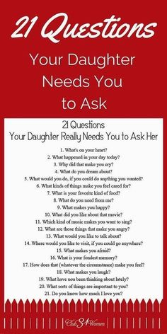 21 Questions Your Daughter Really Needs You to Ask Her Babypflege-Tipps in Telugu # ★ Erziehung ★ Source by . 21 Questions, This Or That Questions, Dating Questions, Couple Questions, Parenting Advice, Kids And Parenting, Parenting Classes, Peaceful Parenting, Natural Parenting