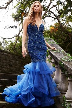 JOVANI NAVY BLUE EMBELLISHED MERMAID EVENING GOWN.  jovani  cloth   Mermaid Evening  Gown 5854809ce88f