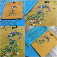 Whatsapp 9043230015 to Customize Hand Embroiderd, Bridal Wear and Party wear dresses. Embroidery On Kurtis, Indian Embroidery, Ribbon Embroidery, Embroidery Kits, Embroidery Suits Design, Hand Embroidery Designs, Pink Kurti, Abstract Embroidery, Punjabi Dress