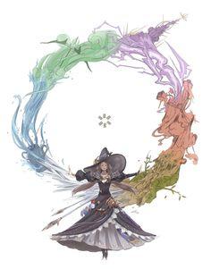 D&D Class: Astrologian (based on job) Final Fantasy Artwork, Final Fantasy Xiv, Dark Fantasy, Fantasy Inspiration, Character Inspiration, Character Art, Character Design, Witch Art, Fantasy Girl